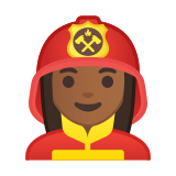 Woman Firefighter Emoji with a Medium-Dark Skin Tone, Google style