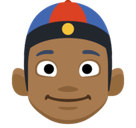 Man with Chinese Cap Emoji with a Medium-Dark Skin Tone, Facebook style