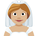 Bride with Veil Emoji with Medium-Light Skin Tone, Facebook style