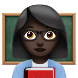 Woman Teacher Emoji with a Dark Skin Tone, Apple style