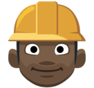Construction Worker Emoji with a Dark Skin Tone, Facebook style