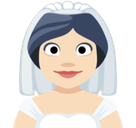 Bride with Veil Emoji with Light Skin Tone, Facebook style