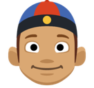 Man with Chinese Cap Emoji with a Medium Skin Tone, Facebook style