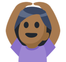 Woman Gesturing Ok Emoji with Medium-Dark Skin Tone, Facebook style