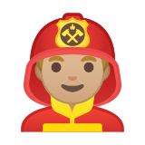 Man Firefighter Emoji with Medium-Light Skin Tone, Google style