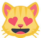 Smiling Cat Face With Heart-Shaped Eyes Emoji, Facebook style