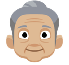 Old Woman Emoji with Medium-Light Skin Tone, Facebook style