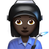 Woman Factory Worker Emoji with a Dark Skin Tone, Apple style