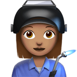 Woman Factory Worker Emoji with a Medium Skin Tone, Apple style