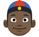 Man with Chinese Cap Emoji with a Dark Skin Tone, Facebook style