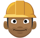 Construction Worker Emoji with a Medium-Dark Skin Tone, Facebook style