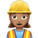 Woman Construction Worker Emoji with a Medium Skin Tone, Apple style