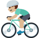 Man Biking Emoji with Medium-Light Skin Tone, Facebook style