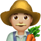 Man Farmer Emoji with a Medium-Light Skin Tone, Apple style