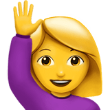 Hand Up Emoji / Person Raising Hand Emoji, Apple style