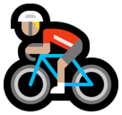 Person Biking Emoji with Medium-Light Skin Tone, Microsoft style