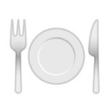Fork and Knife with Plate Emoji, Google style