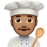 Man Cook Emoji with Medium Skin Tone, Apple style