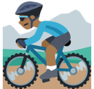Man Mountain Biking Emoji with Medium-Dark Skin Tone, Facebook style