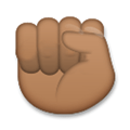 Raised Fist Emoji with a Medium-Dark Skin Tone, LG style