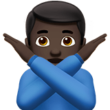 Man Gesturing No Emoji with Dark Skin Tone, Apple style