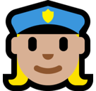 Woman Police Officer Emoji with Medium-Light Skin Tone, Microsoft style