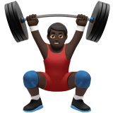 Man Lifting Weights Emoji with a Dark Skin Tone, Apple style
