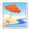 Beach with Umbrella Emoji, LG style