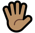 Raised Hand with Fingers Splayed Emoji with a Medium Skin Tone, Microsoft style
