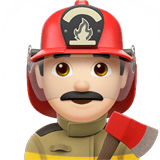 Man Firefighter Emoji with a Light Skin Tone, Apple style