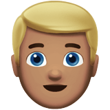 Blond-Haired Man Emoji with a Medium Skin Tone, Apple style