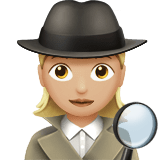 Woman Detective Emoji with a Medium-Light Skin Tone, Apple style