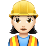 Woman Construction Worker Emoji with a Light Skin Tone, Apple style