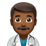 Man Health Worker Emoji with a Medium-Dark Skin Tone, Apple style