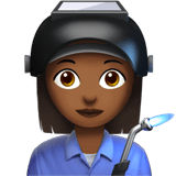 Woman Factory Worker Emoji with a Medium-Dark Skin Tone, Apple style