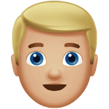 Blond-Haired Man Emoji with a Medium-Light Skin Tone, Apple style