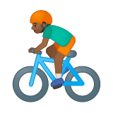 Man Biking Emoji with a Medium-Dark Skin Tone, Google style