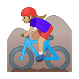 Woman Mountain Biking Emoji with a Medium-Light Skin Tone, Google style