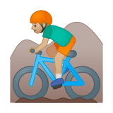 Man Mountain Biking Emoji with a Medium-Light Skin Tone, Google style
