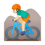 Man Mountain Biking Emoji with a Light Skin Tone, Google style
