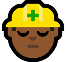 Construction Worker Emoji with a Medium-Dark Skin Tone, Microsoft style