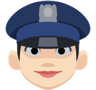 Woman Police Officer Emoji with Light Skin Tone, Facebook style