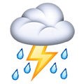 Cloud with Lightning and Rain Emoji, Facebook style