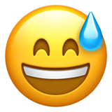 Sweating Emoji / Smiling Face with Open Mouth & Cold Sweat Emoji, Apple style
