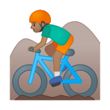 Man Mountain Biking Emoji with a Medium Skin Tone, Google style