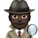 Detective Emoji with a Dark Skin Tone, Apple style