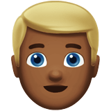 Blond-Haired Person Emoji with a Medium-Dark Skin Tone, Apple style