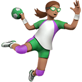 Woman Playing Handball Emoji with a Medium Skin Tone, Apple style