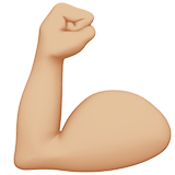 Flexed Biceps Emoji with Medium-Light Skin Tone, Apple style