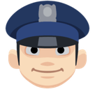 Man Police Officer Emoji with Light Skin Tone, Facebook style